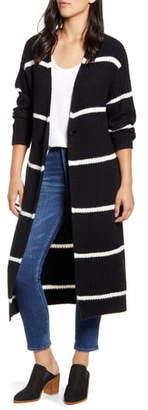 Press Stripe Oversize Shaker Stitch Long Cardigan