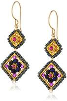 Miguel Ases Amethyst Hydro-Quartz and Swarovski Double Diamond Drop Earrings