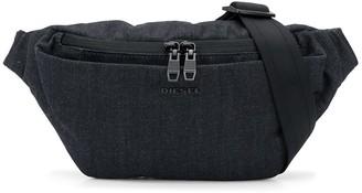 Diesel Logo Plaque Denim Belt Bag