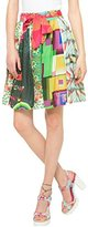 Desigual Women's A-Line Printed Skirt - Green -
