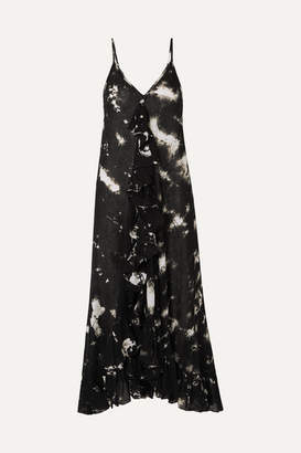Mes Demoiselles Ruffled Tie-dyed Cotton-voile Midi Dress - Black
