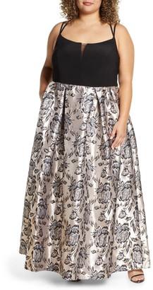 Morgan & Co. Metallic Brocade Ballgown (Plus Size)