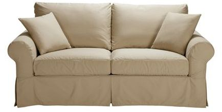 """Ethan Allen Cheshire slipcovered roll-arm sofa 87"""""""