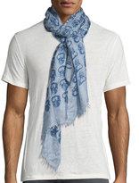 John Varvatos Cashmere-Blend Skull-Print Scarf, Regal Blue