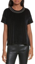 The Kooples Women's Jewel Trim Velvet Tee