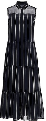 Akris Punto Stripe Silk Midi Shirtdress