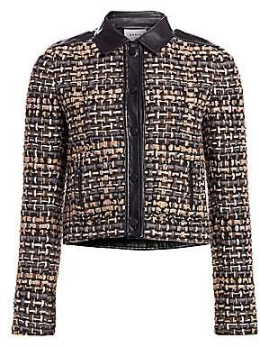 Akris Punto Women's Leather-Trimmed Tweed Short Jacket