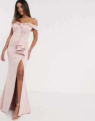 Goddiva bardot bow detail maxi dress in pink satin