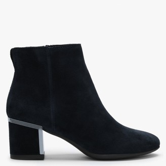 Df By Daniel Enthuse Navy Suede Metal Trim Heeled Ankle Boots
