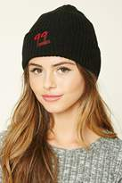 Forever 21 FOREVER 21+ 99 Graphic Ribbed Knit Beanie