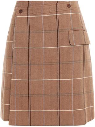 Acne Studios Herringbone Checked Wool And Cotton-blend Mini Wrap Skirt