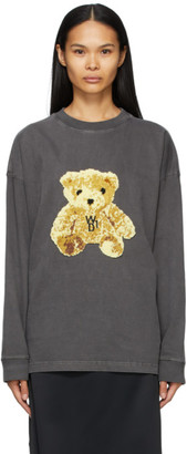 we11done Grey Embroidered Teddy Long Sleeve T-Shirt