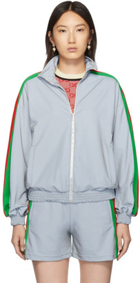 Gucci Silver Reflective Zip-Up Sweater