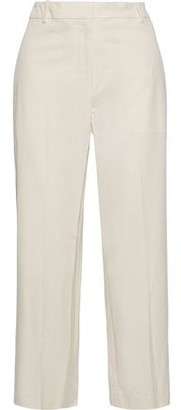 Theory Cropped Washed Stretch-cotton Twill Straight-leg Pants