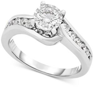 TruMiracle Diamond Swirl Engagement Ring (9/10 ct. t.w.) in 14k White Gold