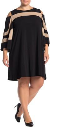 Nina Leonard Cold Shoulder Jewel Neck Miracle Dress (Plus Size)