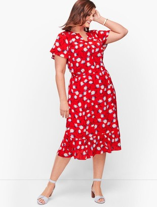 Talbots Plus Size Exclusive Flounce Hem A-Line Dress - Floral
