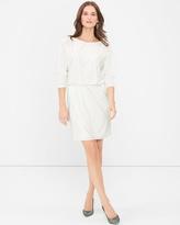 White House Black Market White Embellished Blouson Dress