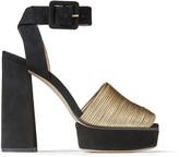 Jimmy Choo BAJA/PF 125 Metallic Gold Nappa Leather and Black Suede Platform Sandals