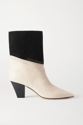 Jimmy Choo Bear 65 Two-tone Studded Suede And Leather Ankle Boots - White