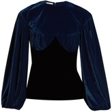 Emilia Wickstead Pandora bi-colour gathered velvet top