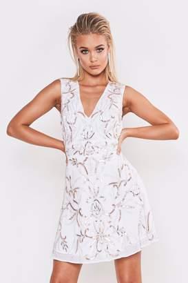 boohoo Premium Hand Embellished V Neck Skater Dress