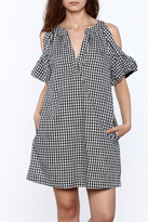 Lush Gingham Cold Shoulder Dress