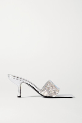 BY FAR Dylan Crystal-embellished Leather Mules - Silver