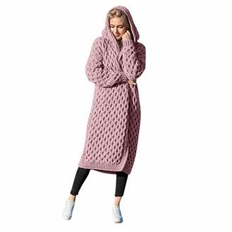 Tuduz Coat Women Hooded Cardigan Coat TUDUZ Ladies Winter Solid Long Open Front Knitted Sweater Outerwear Thick Warm Hoody Knitwear Jackets(Gray XL)
