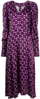 Rotate by Birger Christensen Pansy Print Midi Dress