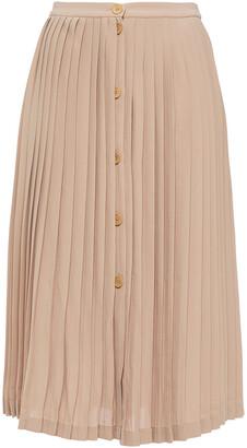 Maje Pleated Crepe Midi Skirt