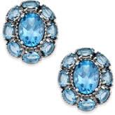 Macy's Blue Topaz Flower Stud Earrings (5 ct. t.w.) in Sterling Silver