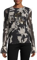 Fuzzi Long-Sleeve Sequin-Trimmed Floral Tulle Tee