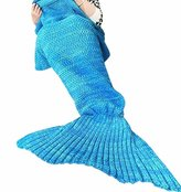 Coroler® Lovely Blue Mermaid Tail Crochet Blanket All Seasons Soft Warm Sleeping Bags