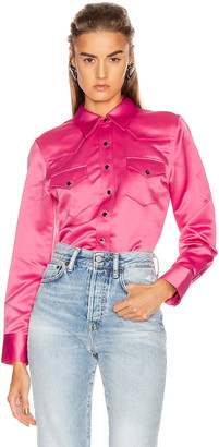 Acne Studios Bla Konst 2002 Satin Shirt in Bright Pink | FWRD