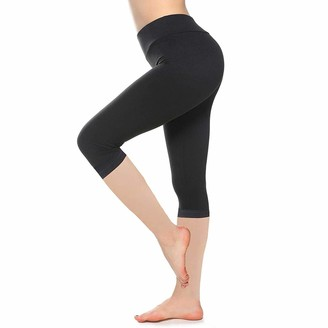 SINOPHANT High Waisted Capri Leggings for Women Buttery Soft Elastic Opaque Tummy Control Leggings Plus Size Slim Stretchy Pants for Workout Gym Yoga (Black Extra Plus Size)