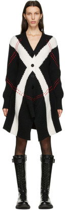 Alexander McQueen Black and White Exploded Argyle Cardigan Dress