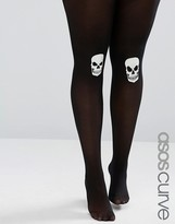 Asos Halloween Glow In The Dark Skull On Knee Tights