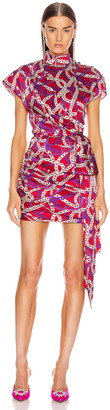 MARIANNA SENCHINA Ruched Side Mini Dress in Fuchsia Chain Print | FWRD