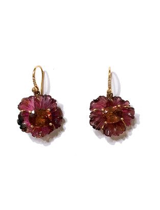 Irene Neuwirth One-Of-A-Kind Carved Pink Tourmaline Tropical Flower Earrings - Rose Gold