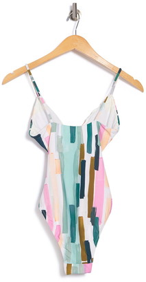 Bikini Lab Paint Plunge One-Piece Swimsuit