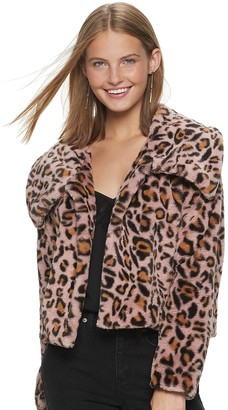 Candies Juniors' Candie's Animal Print Short Faux Fur Jacket With Collar
