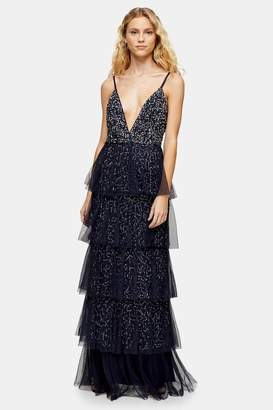 Womens **Navy Embellished Dress By Lace & Beads - Navy Blue