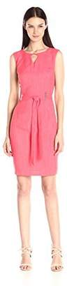 Ellen Tracy Women's Sleeveless Dress with Keyhole Cut Out and Self Belt