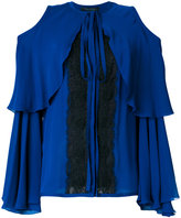 Elie Saab cold shoulder lace insert blouse - women - Silk/Cotton/Nylon/Polyester - 36
