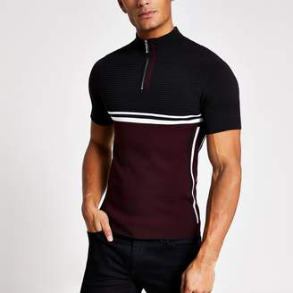 River Island Mens Red muscle fit half zip knitted T-shirt