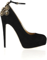 Brian Atwood Zenith chain and stud-embellished suede pumps