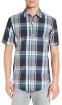 BOSS 'Robb' Slim Fit Plaid Short Sleeve Sport Shirt