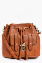 boohoo Amy Metal Clasp Pocket Front Duffle Bag tan