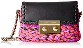 Juicy Couture Black Label Micro Crossbody Tweed Bag with Flap Closure and Leather and Chain Strap